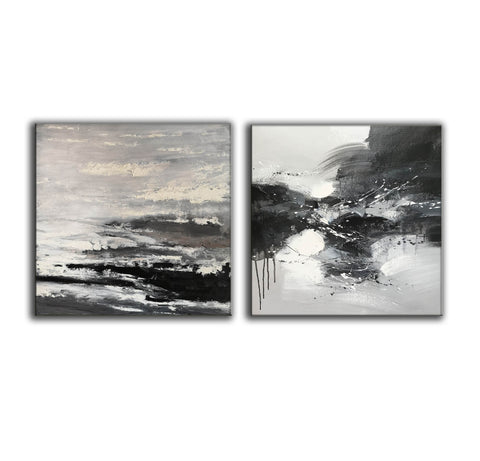 Image of Black and white modern art paintings | White artwork F85-3