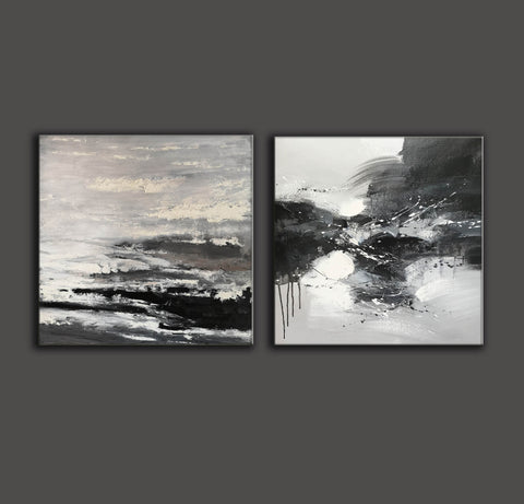 Image of Black and white modern art paintings | White artwork F85-4