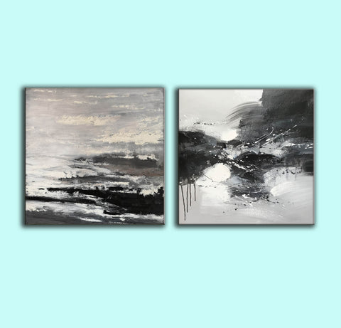 Image of Black and white modern art paintings | White artwork F85-5