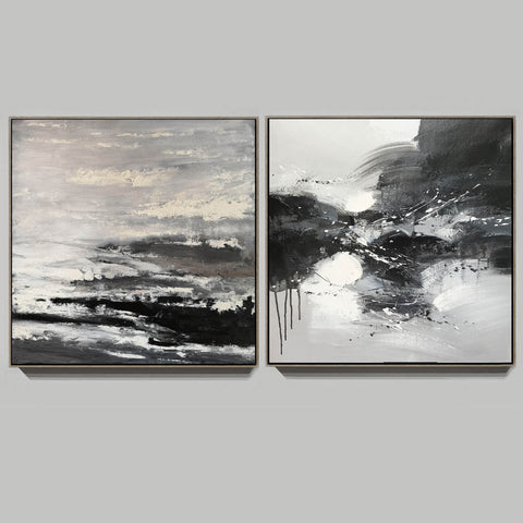 Image of Black and white modern art paintings | White artwork F85-6