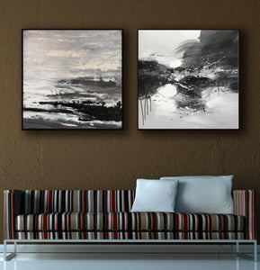 Black and white modern art paintings | White artwork F85-7