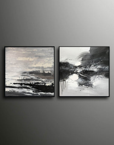 Image of Black and white modern art paintings | White artwork F85-8
