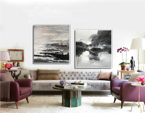 Image of Black and white modern art paintings | White artwork F85-9