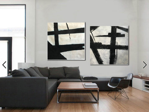 Black grey and white paintings | Black white canvas paintings F99-6