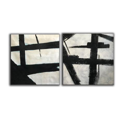 Black grey and white paintings | Black white canvas paintings F99-9