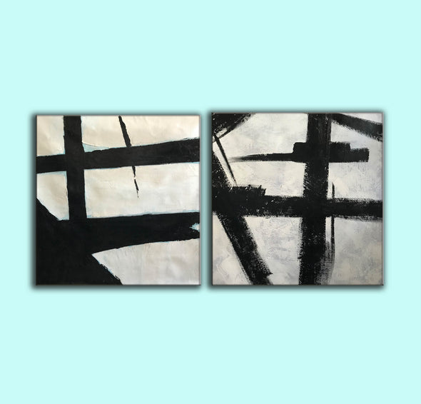 Black grey and white paintings | Black white canvas paintings F99-10