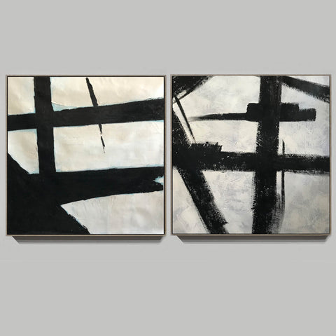 Black grey and white paintings | Black white canvas paintings F99-3
