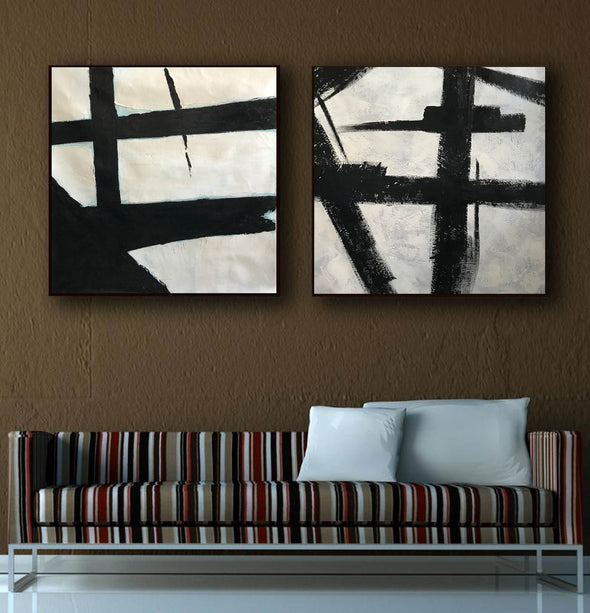 Black grey and white paintings | Black white canvas paintings F99-2