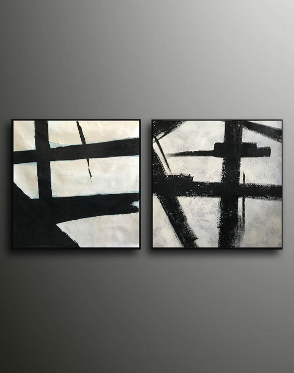 Black grey and white paintings | Black white canvas paintings F99-4