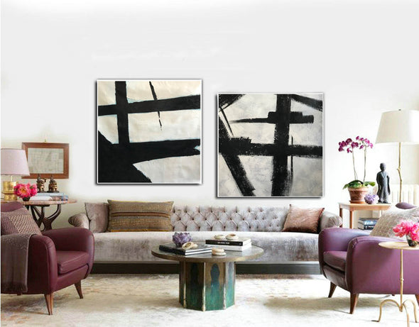 Black grey and white paintings | Black white canvas paintings F99-1
