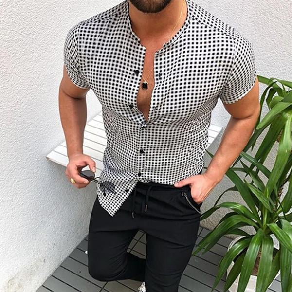 Men's Plaid Printing Short-Sleeved Single-Breasted Shirt