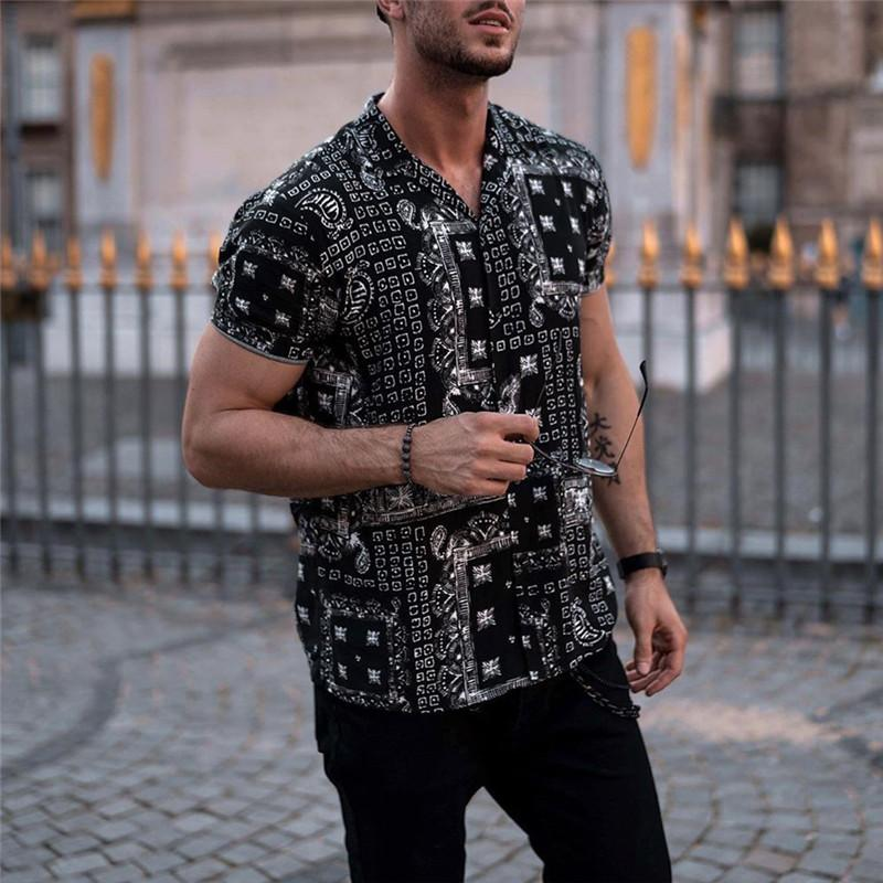 Fashion Printed Fold-Over Collar Short-Sleeved Shirts