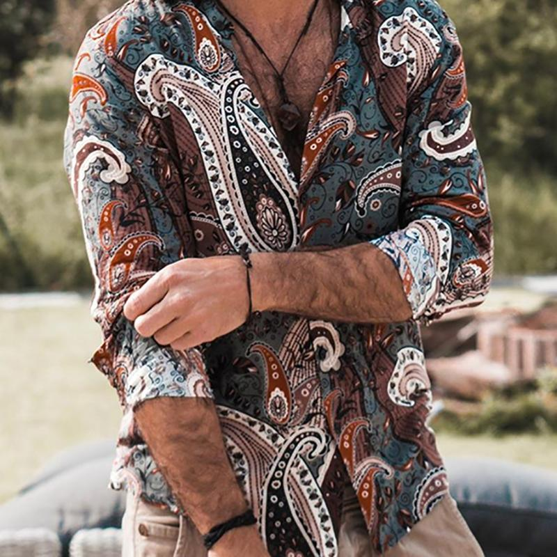 Men's Vintage Fashion Thin Section Printed Shirt