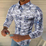 Fashion Printed Folded Collar Long Sleeve Shirts