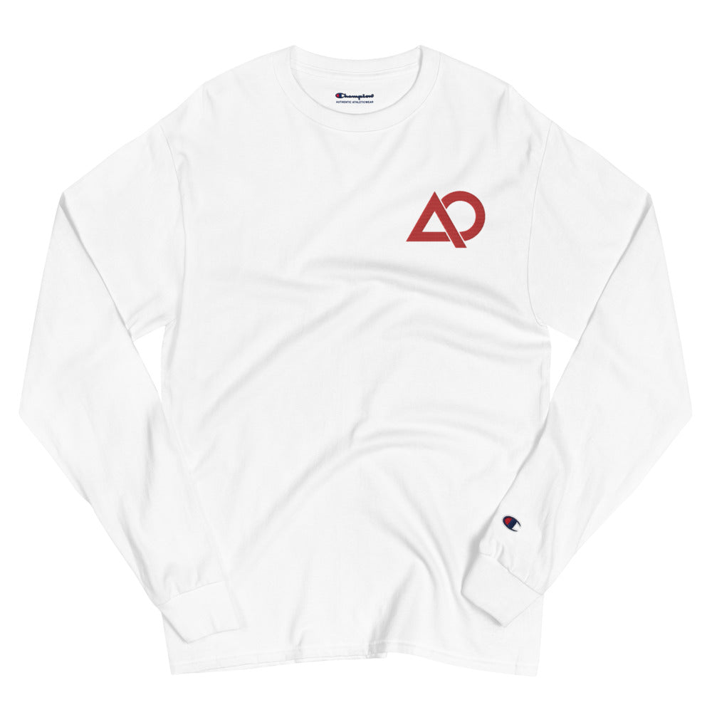 Alpha Omega (Black/White) Embroidered Champion Long Sleeve Shirt - The Ripped Effect
