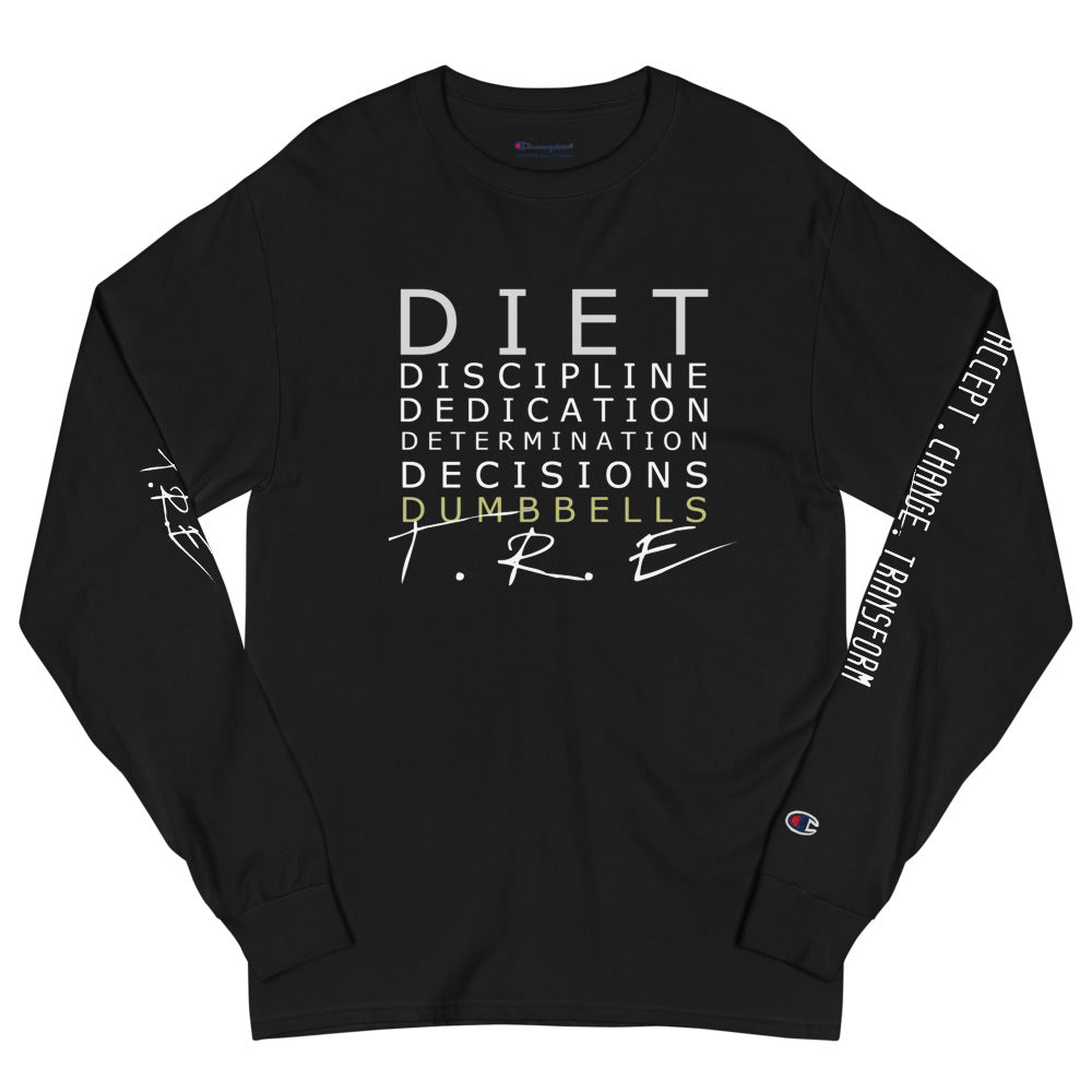 Diet Dedication Dumbbells Champion Long Sleeve Shirt - The Ripped Effect