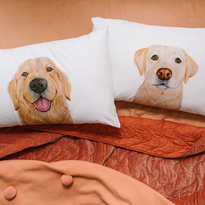 Sid the Golden Retriever Pillowcase - For Me By Dee