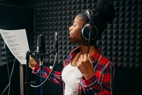 soundproof girl singing music studio