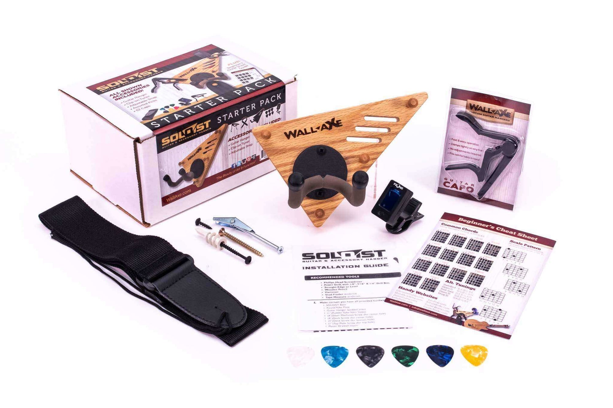 Soloist Guitar Hanger and Accessory Starter Pack-Wall-Axe Guitar Hangers