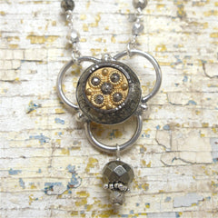 Cut steel Antique Button set in Sterling Silver