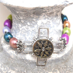 Antique Button Cross Bracelet