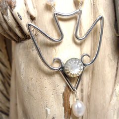 Sold - Sterling Silver Dove with Antique Baby Button