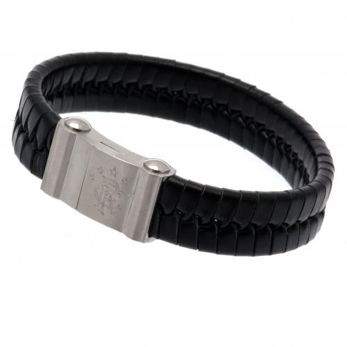 Rangers FC Single Plait Leather Bracelet - Football Centrum