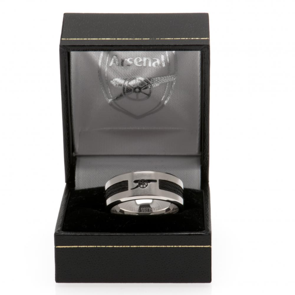 Arsenal FC Black Inlay Ring Medium - Football Centrum