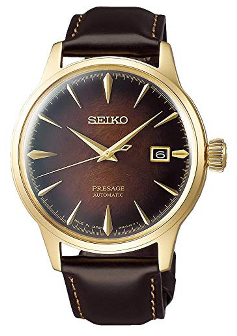 Seiko Presage Limited Edition Gold Case Brown Dial Men's Watch SRPD36J1