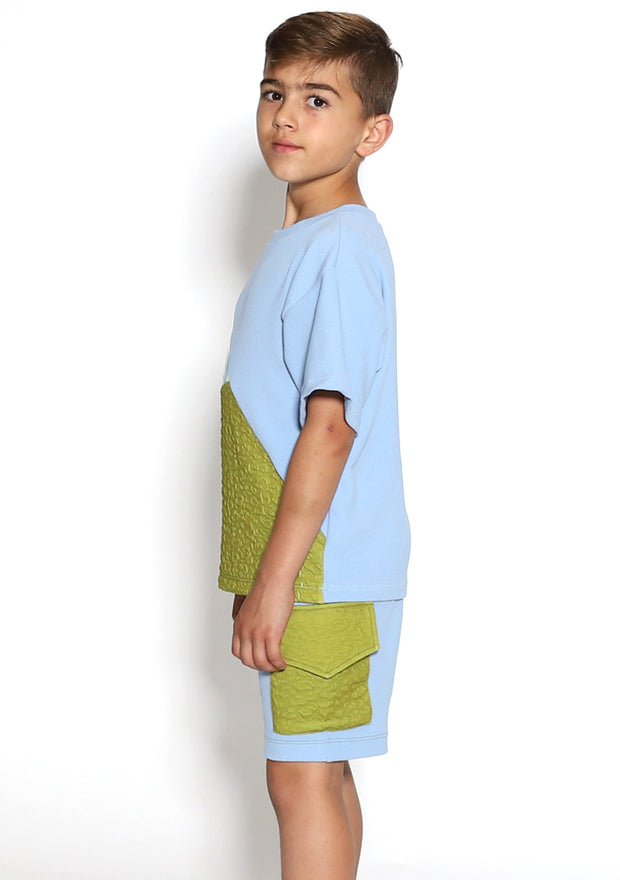 Color Block Blue Boys Shorts