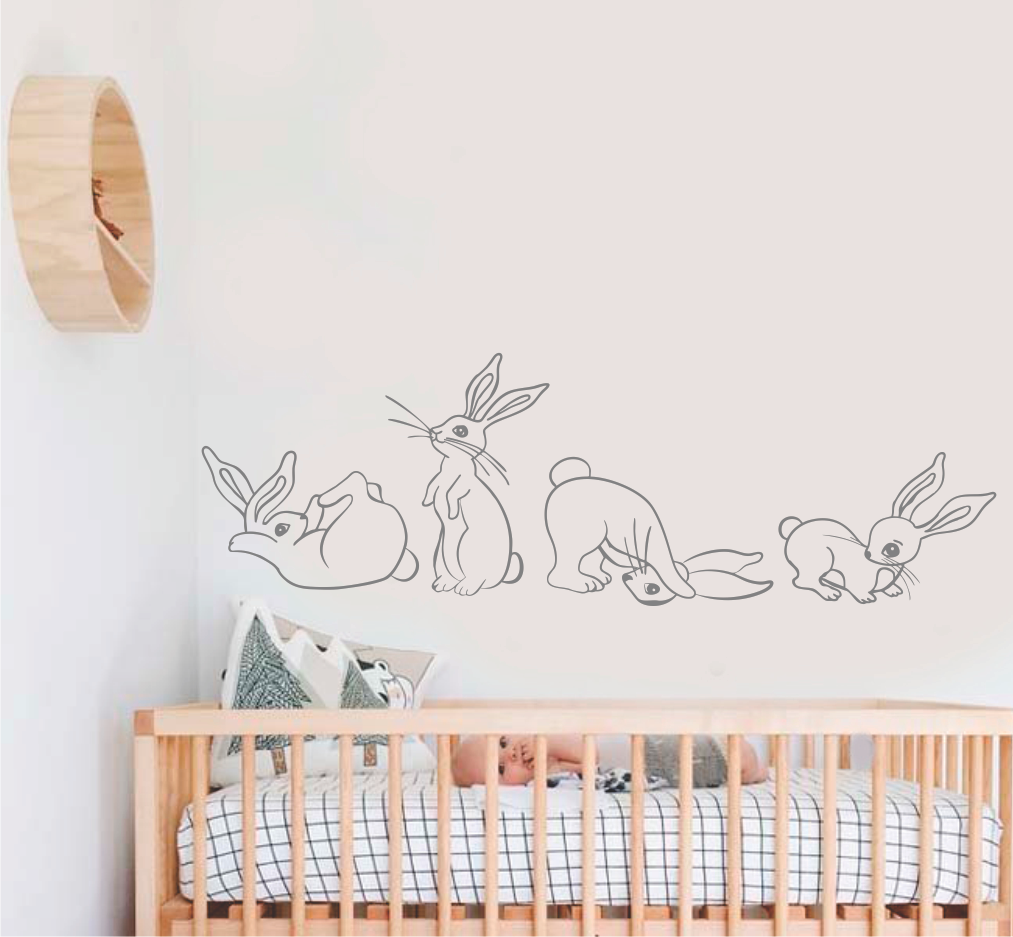 CUTE BUNNIES LINE DRAWINGS