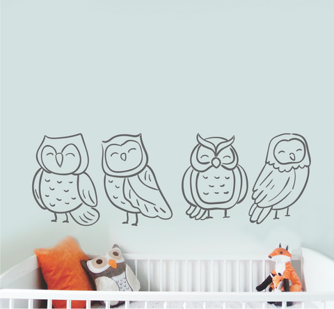 CUTE OWLS LINE DRAWINGS