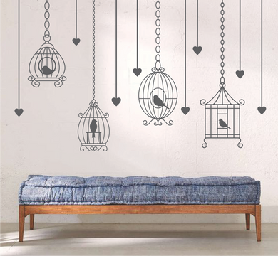 HANGING BIRD CAGES AND HEARTS