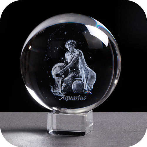 Crystal Luminous Zodiac Sign Ball Aquarius