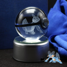 Load image into Gallery viewer, Crystal Engraved Poke Ball (Swampert) 8cm