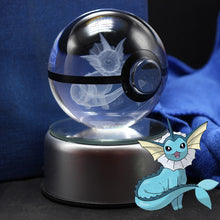 Load image into Gallery viewer, Crystal Engraved Poke Ball (Vaporeon) 8cm