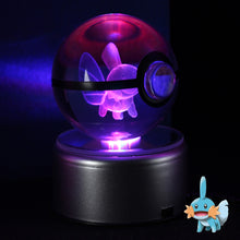 Load image into Gallery viewer, Crystal Engraved Poke Ball (Mudkip) 8cm