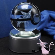 Load image into Gallery viewer, Crystal Engraved Poke Ball (Espeon) 8cm