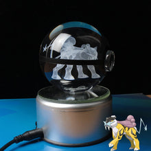 Load image into Gallery viewer, Crystal Engraved Poke Ball (Raikou) 8cm