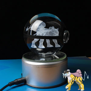 Crystal Engraved Poke Ball (Raikou) 8cm