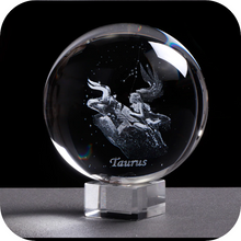 Load image into Gallery viewer, Crystal Luminous Zodiac Sign Ball Taurus