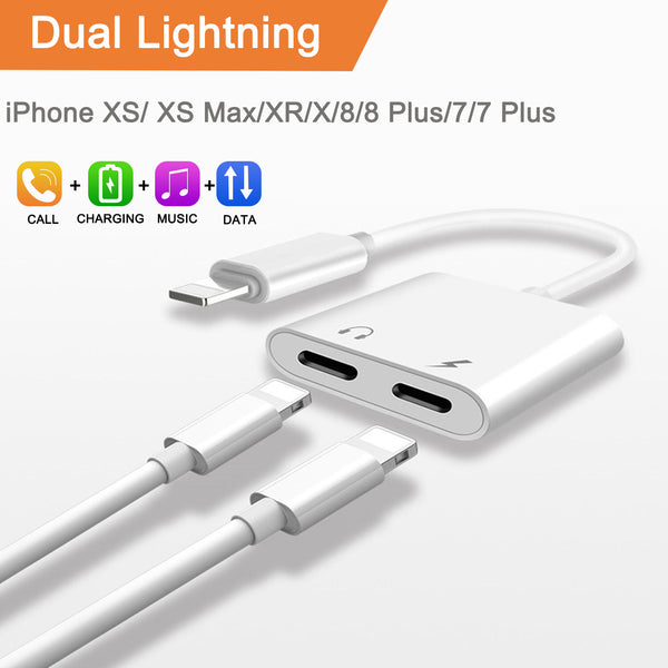 Dual Adapter for iPhone 2 in 1 Headphone & Charger Audio LIGHTNING Adapter