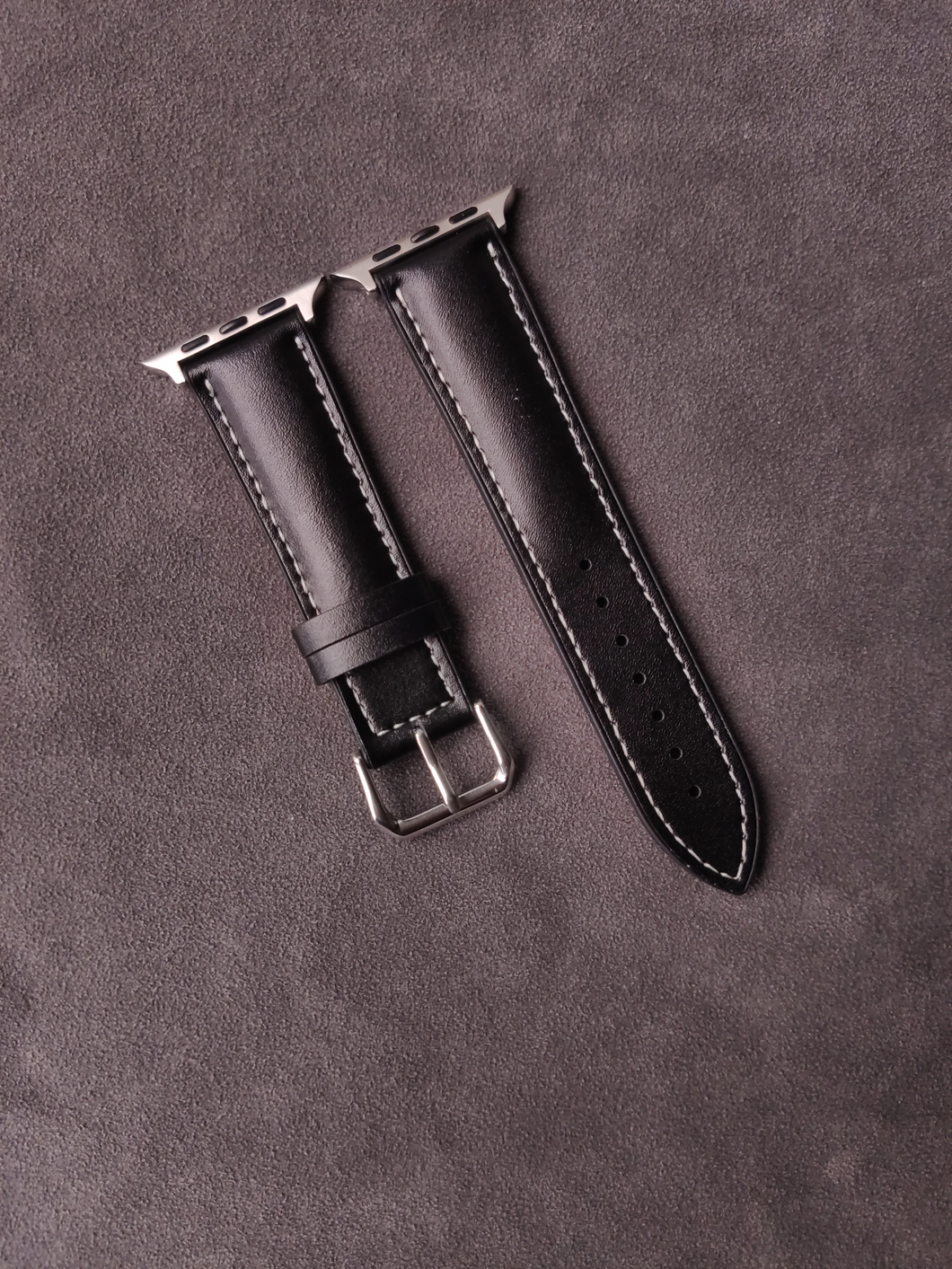 Genuine Black Calf Leather with Black Rubber base for Apple Strap