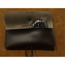 Load image into Gallery viewer, Dark Brown Oil Waxed Leather Single Watch Pouch
