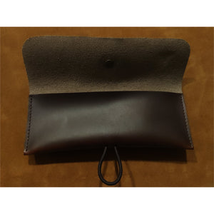 Dark Brown Oil Waxed Leather Single Watch Pouch