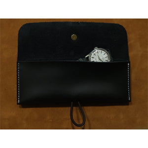 Black Oil Waxed Leather Single Watch Pouch
