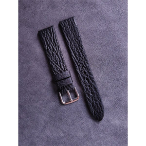 #5 18mm/16mm Black Shark Leather Watch Strap