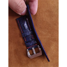 Load image into Gallery viewer, #4 24mm/22mm Blue Hornback Crocodile Leather with Red contrast Stitch Watch Strap