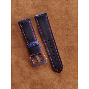 #4 24mm/22mm Blue Hornback Crocodile Leather with Red contrast Stitch Watch Strap