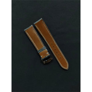 #11 20mm/18mm Blue - Grey Ostrich Leg Leather Watch Strap With Grey Stitch